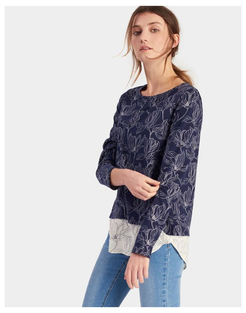 Navy Linear Floral Elysa Jersey top with woven hem panel  Size 16 | Joules UK