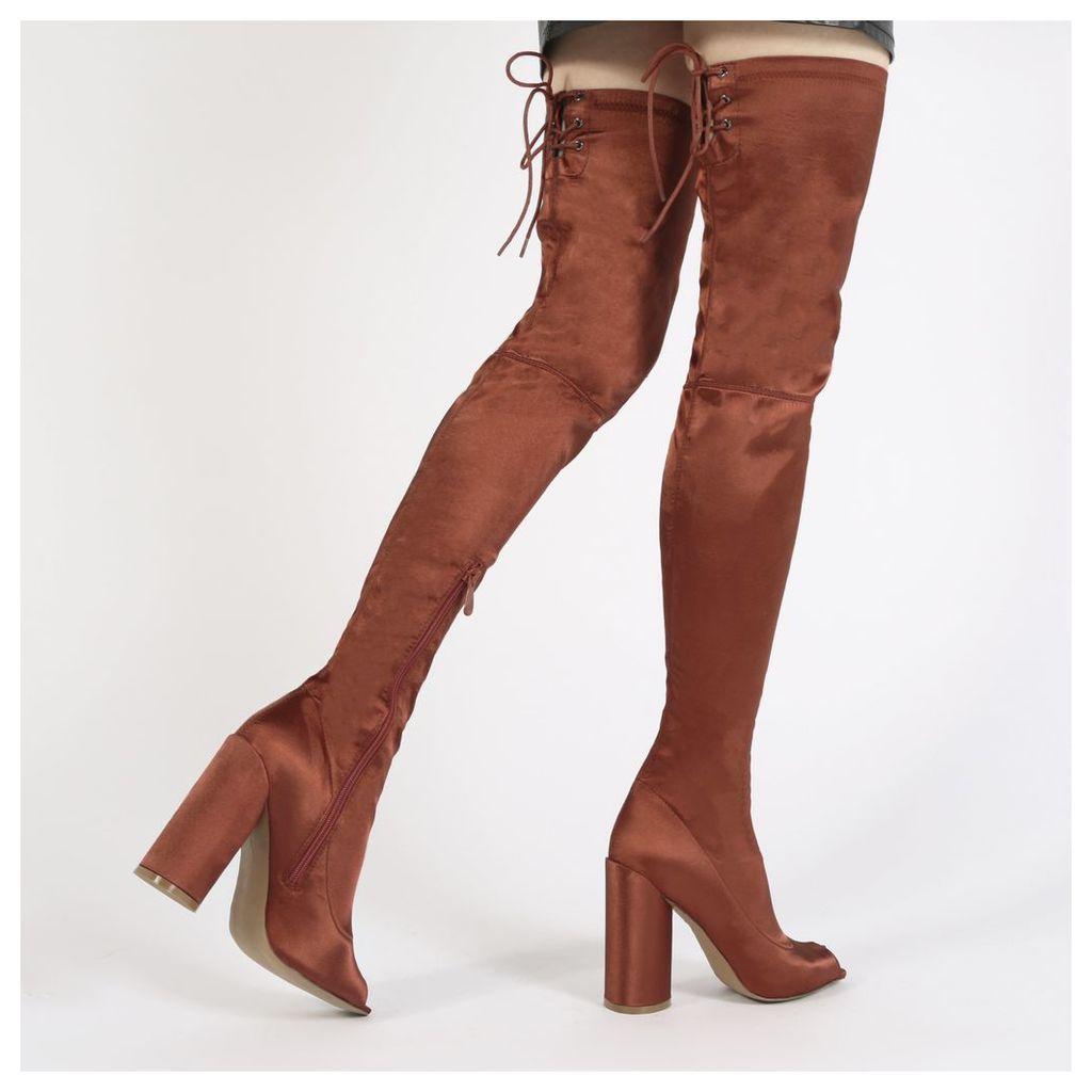 Jana Over the Knee Peeptoe Boots in Rust Satin