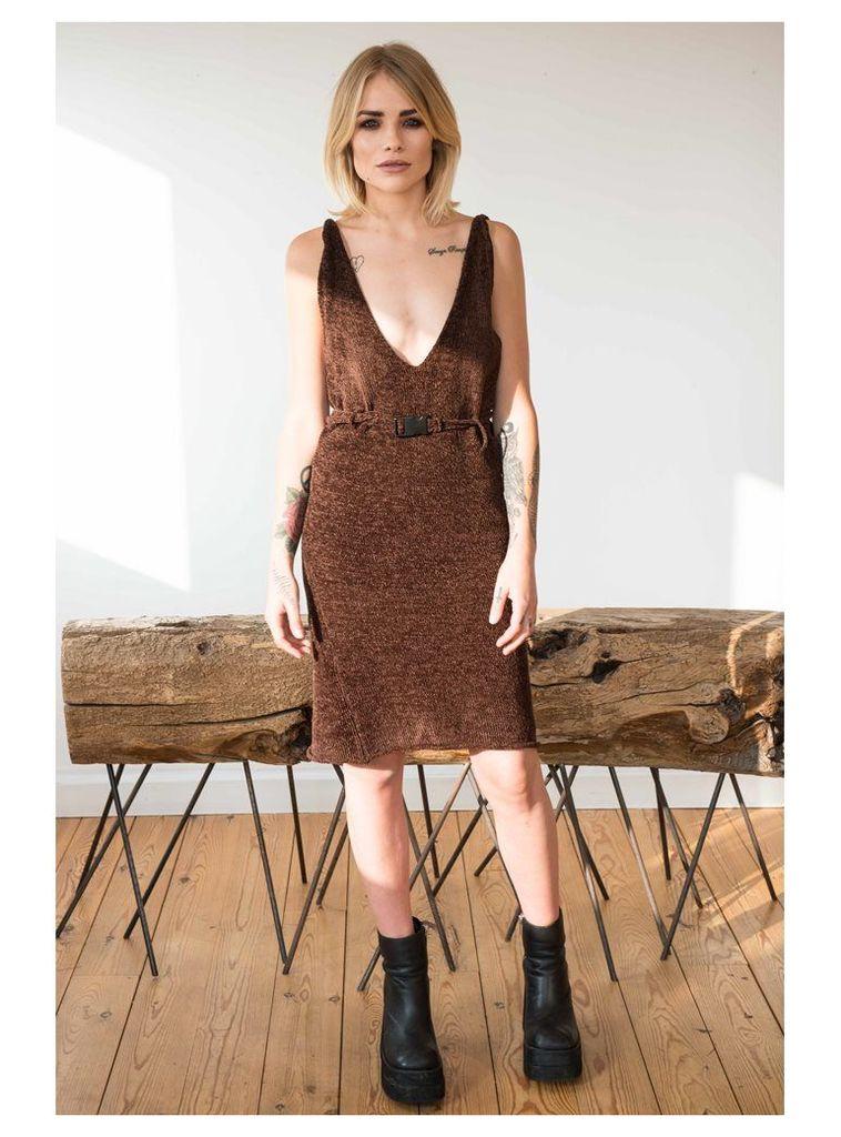 BROWN CHENILLE VELVET EFFECT DRESS WITH BUCKLE DETAIL - S