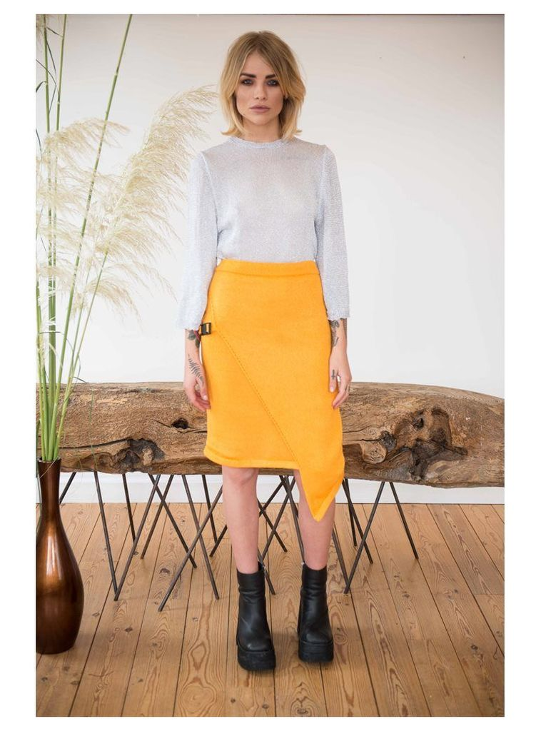 MUSTARD WRAP SKIRT WITH BUCKLE DETAIL - XS