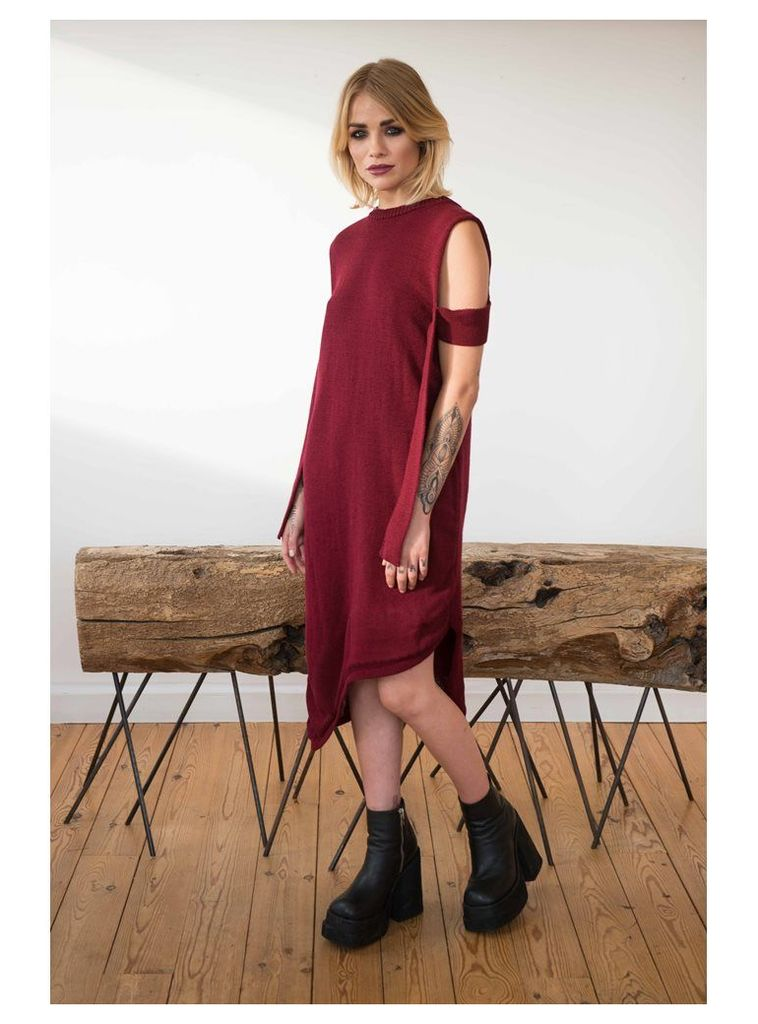 BURGUNDY OVERSIZE DRESS WITH STRAP ARM DETAIL - L