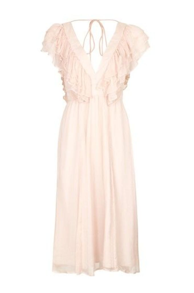 Womens Ruffle V-Neck Midi Dress - Nude, Nude