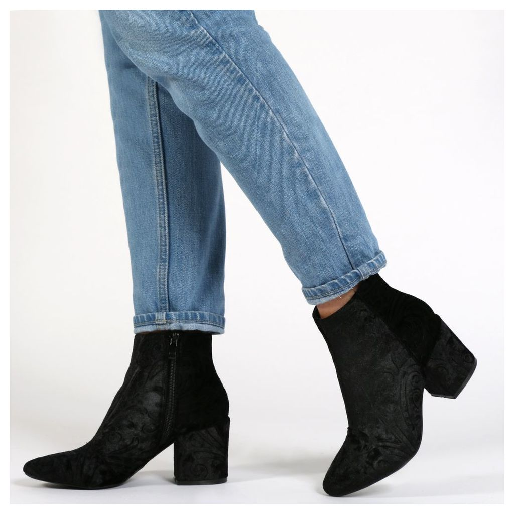 Malika Ankle Boots In Black Printed Velvet