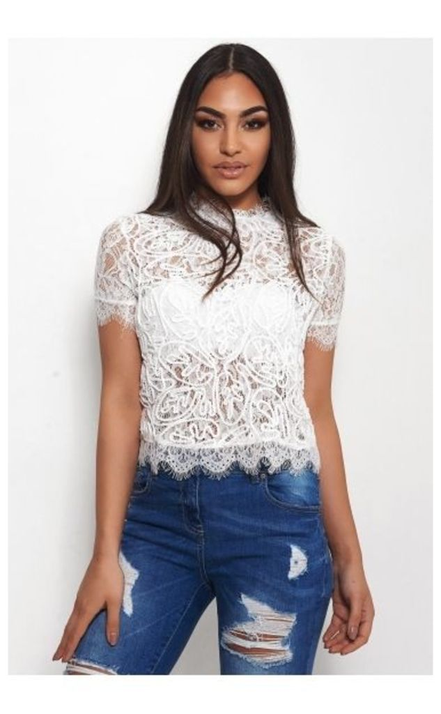 Evika White Lace Blouse