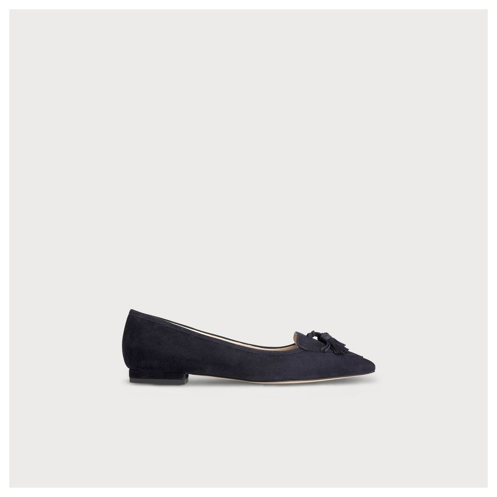 Dixie Navy Suede Flats
