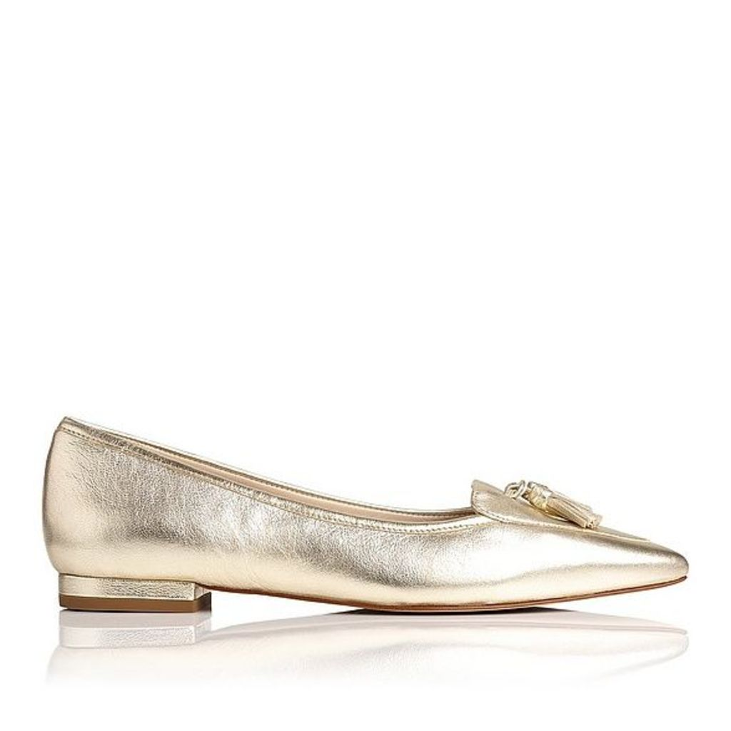 Dixie Gold Metallic Leather Flats