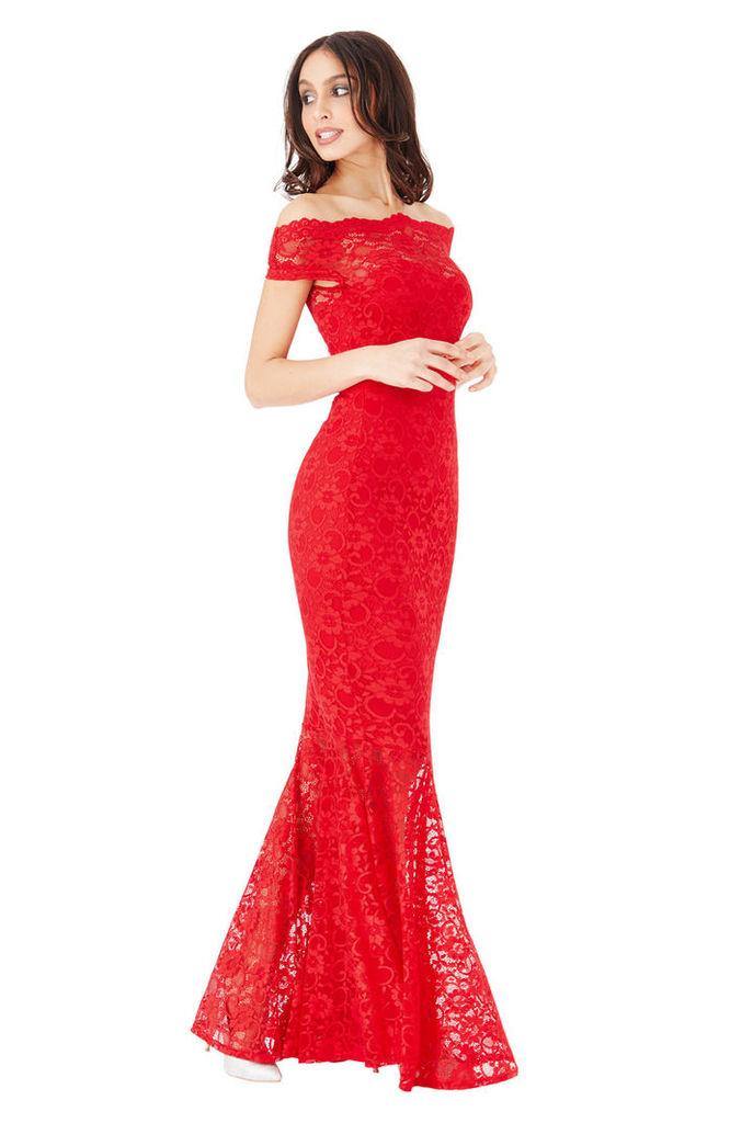 Bardot Lace Maxi Dress - Red