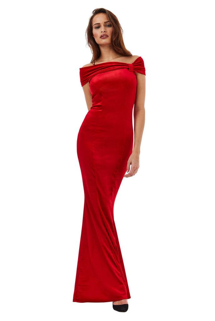 Bardot Velvet Maxi Dress with Bow Detail - Red