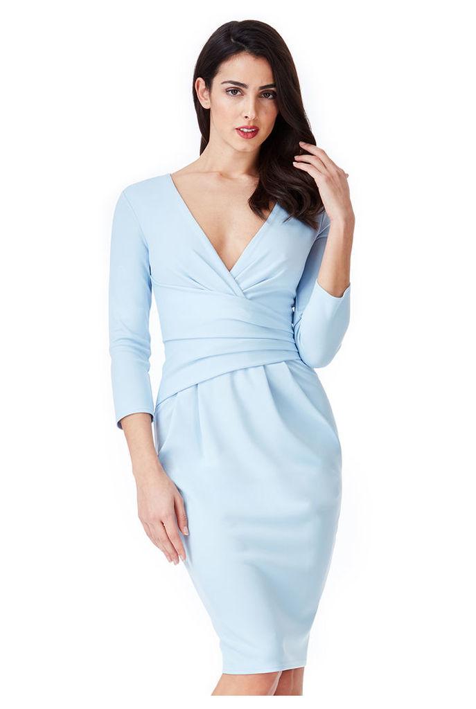 Fitted Pleated Midi Dress - Powderblue