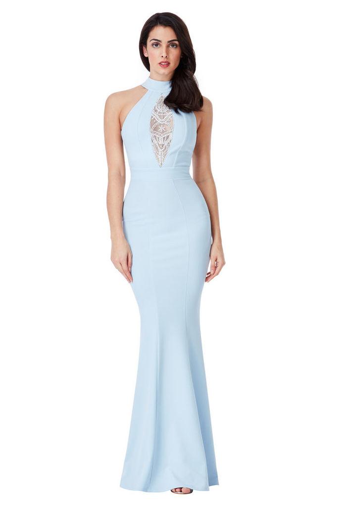 Embellished Maxi Dress - Powderblue