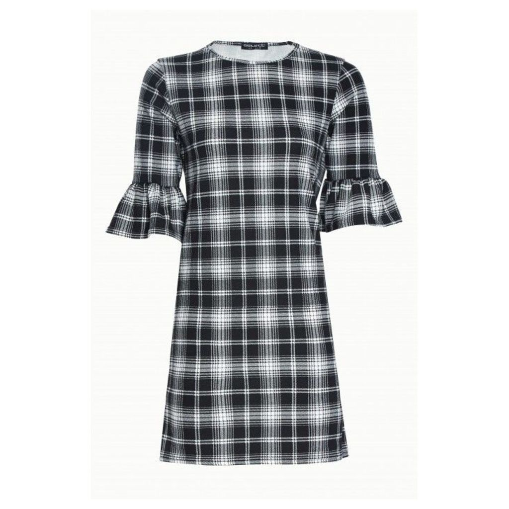 CHECK CREPE FLUTED SLEEVE SHIFT DRESS