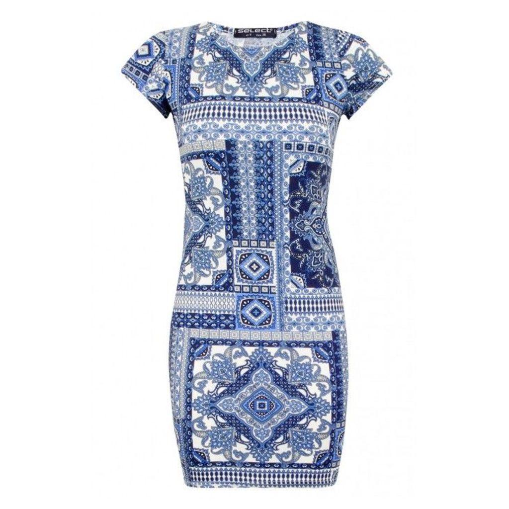 MIX TILE PRINT BODYCON DRESS