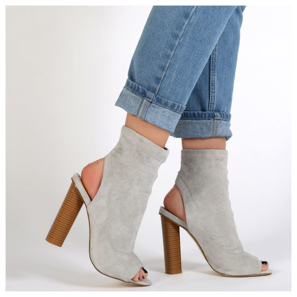 Aliah Cut Out Stacked Heel Stretch Ankle Boots in Light Grey Faux Suede