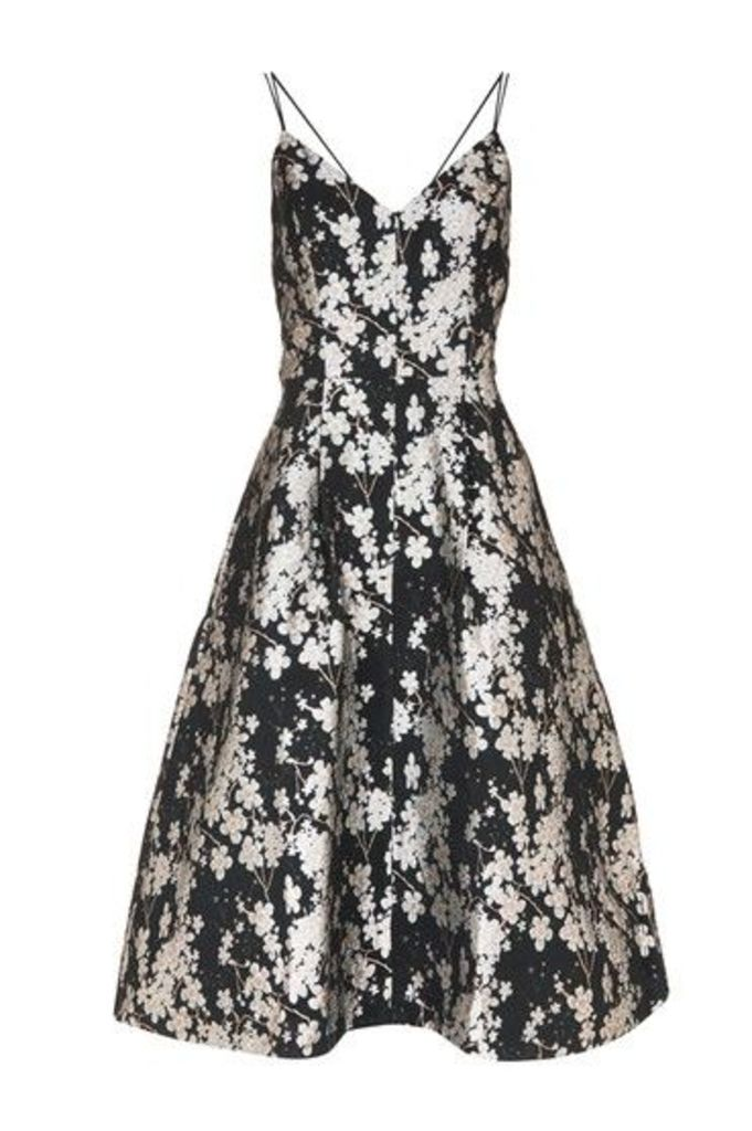 Womens Daisy Jaquard Midi Prom Dress - Monochrome, Monochrome