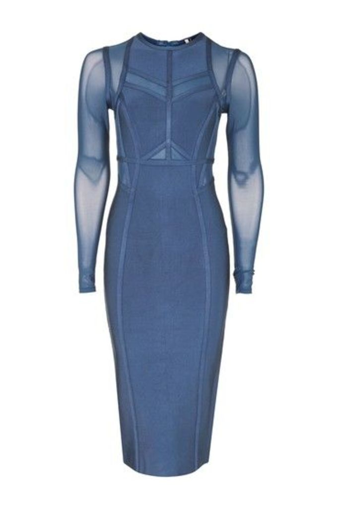 Womens Long Sleeve Panel Mesh Midi Dress - Blue, Blue