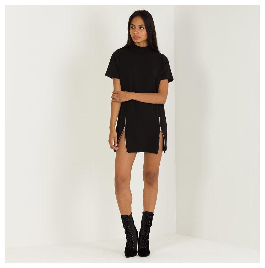 Maniere De Voir; Zip Detail T-Shirt Dress - Black