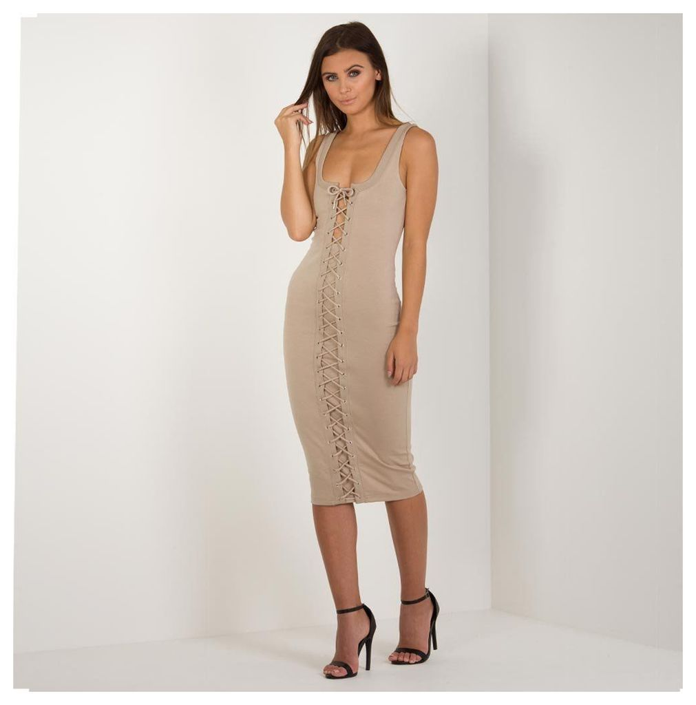 Maniere De Voir; Lace-Up Midi Dress - Nude