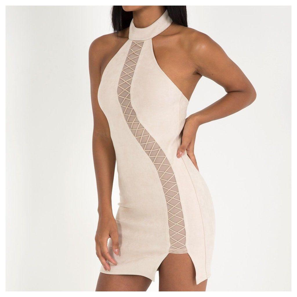 Maniere De Voir; Suede Choker Mini Dress - Beige