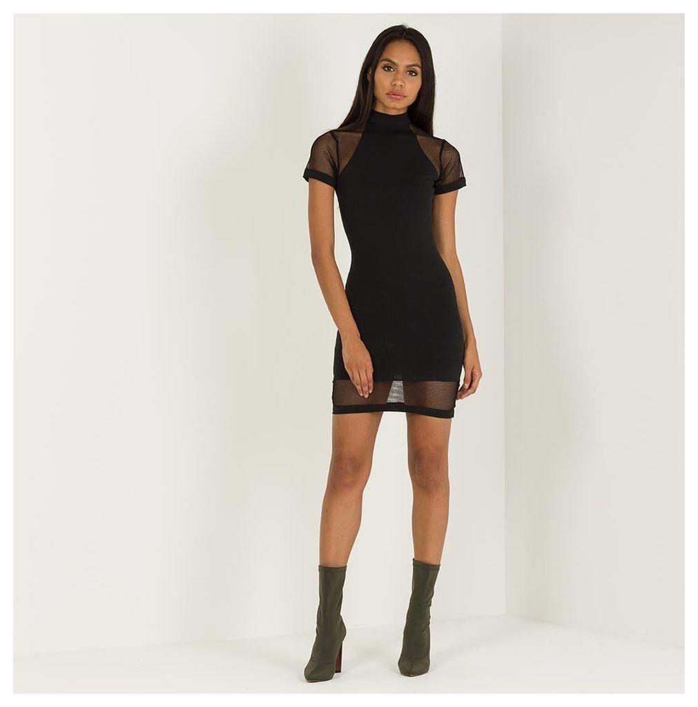 Maniere De Voir; Mesh Panel Bodycon Dress - Black