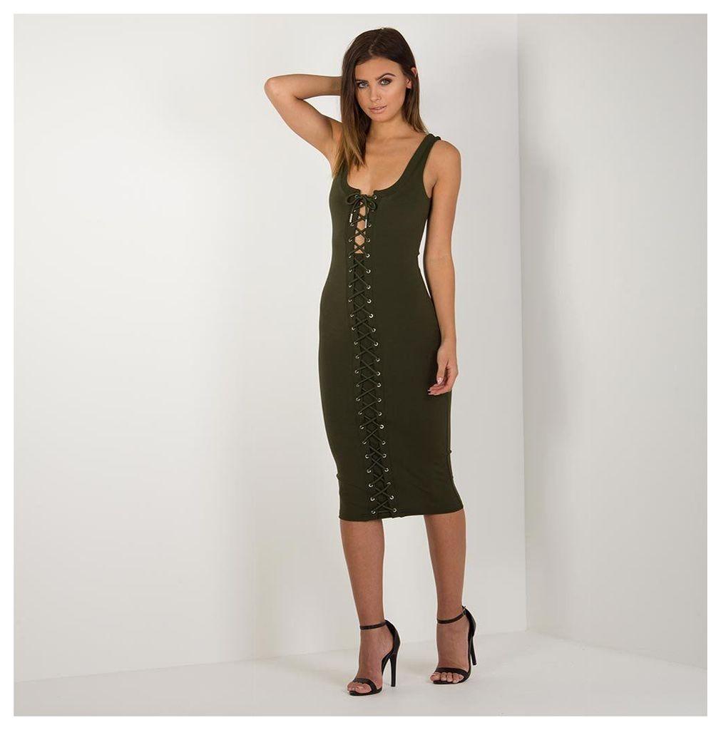 Maniere De Voir; Lace-Up Midi Dress - Khaki