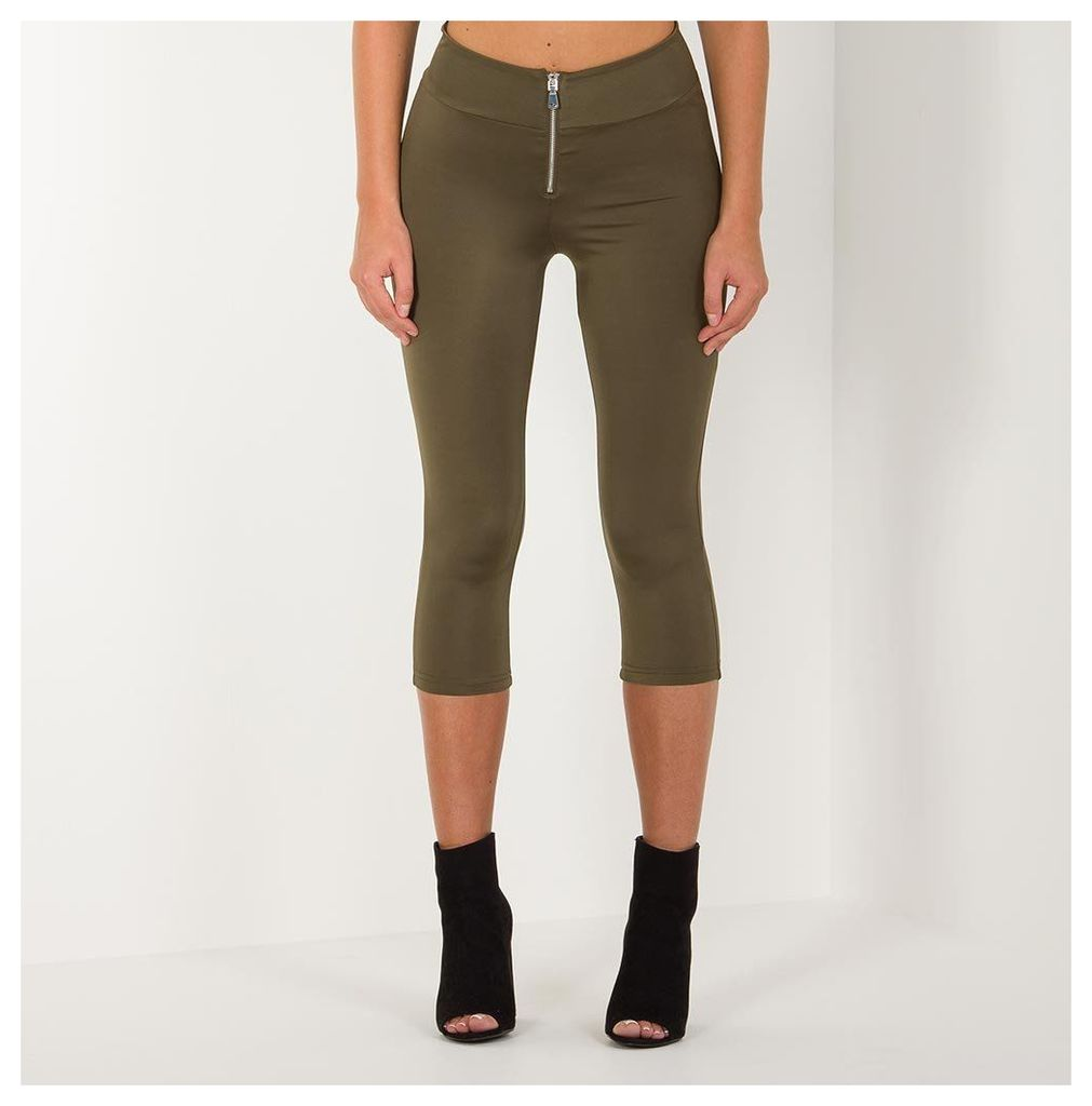 Maniere De Voir; Zip Front Cropped Legging - Khaki
