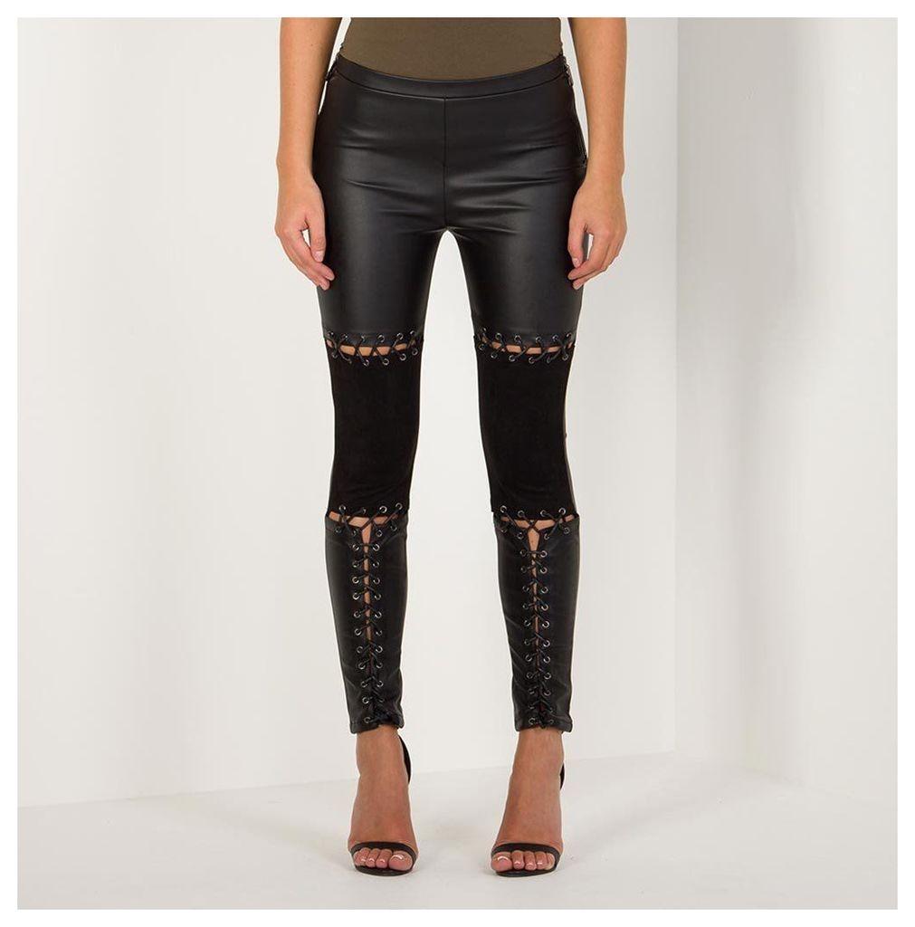 Maniere De Voir; Leather and Suede Lace-Up Legging - Black