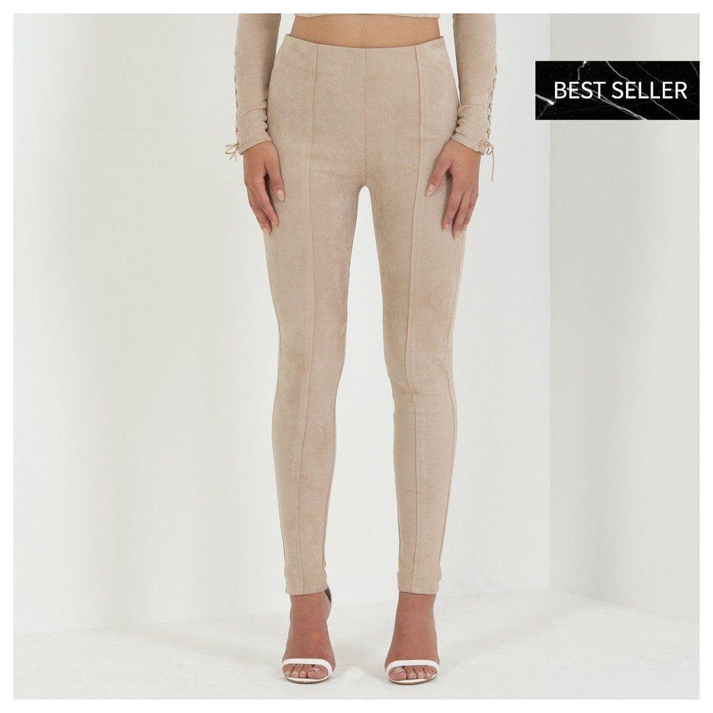 Maniere De Voir; Suede Lace-Up Legging - Beige