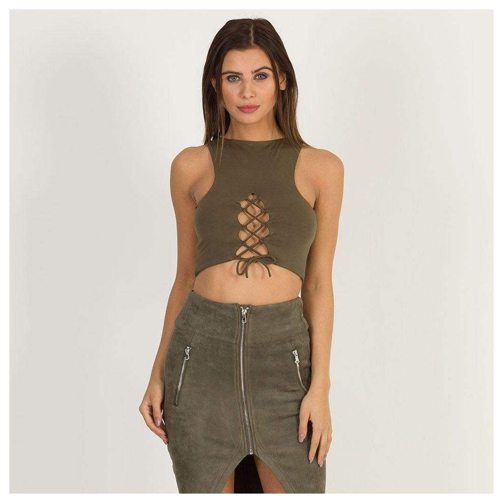 Maniere De Voir; Lace-Up Reversible Crop Top - Khaki