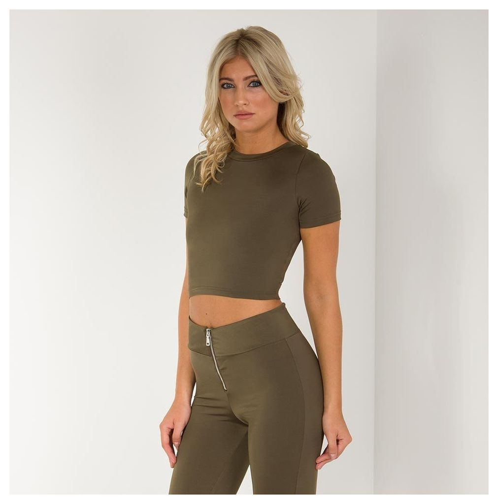 Maniere De Voir; Open Back Crop Top - Khaki