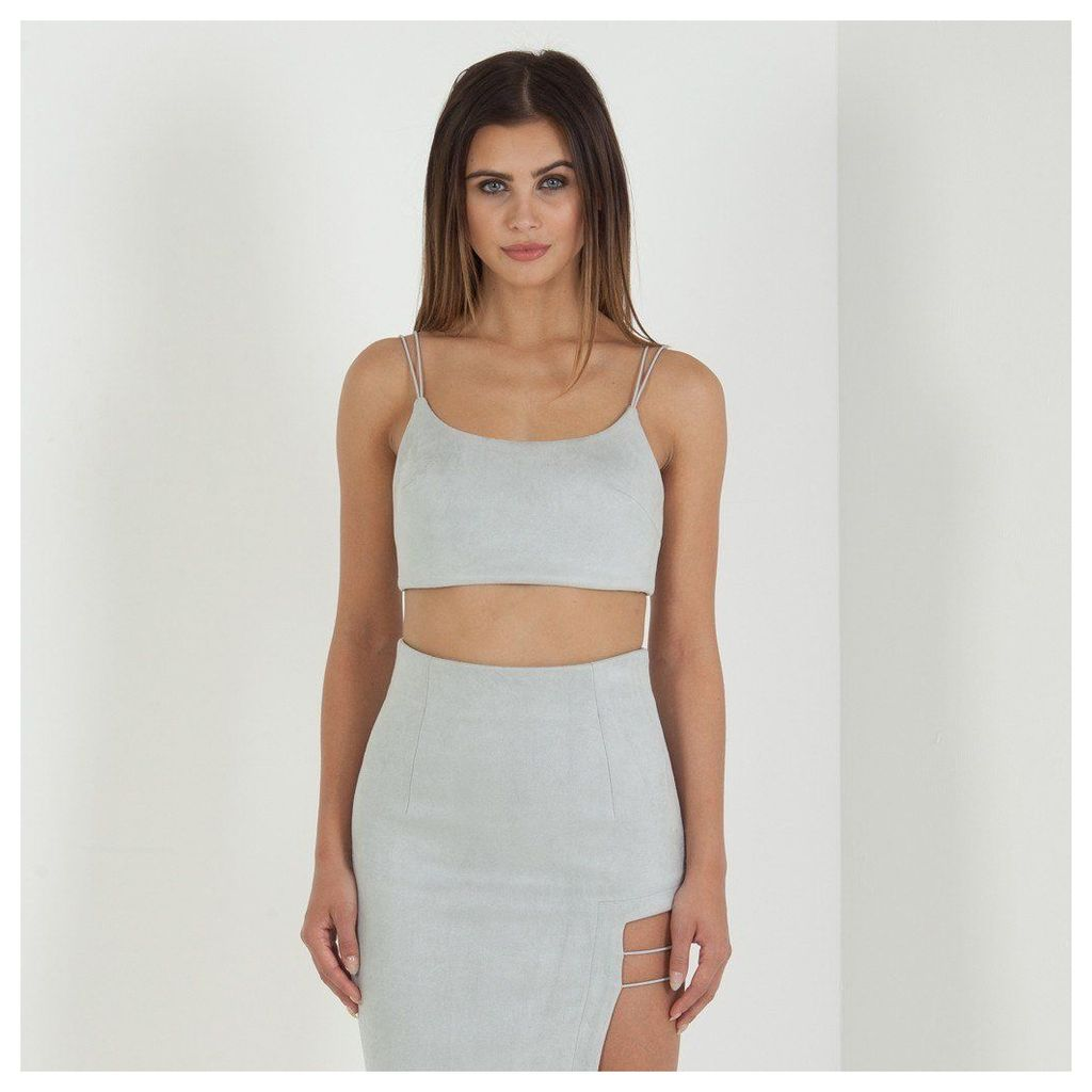 Maniere De Voir; Suede Strap Crop Top - Light Grey