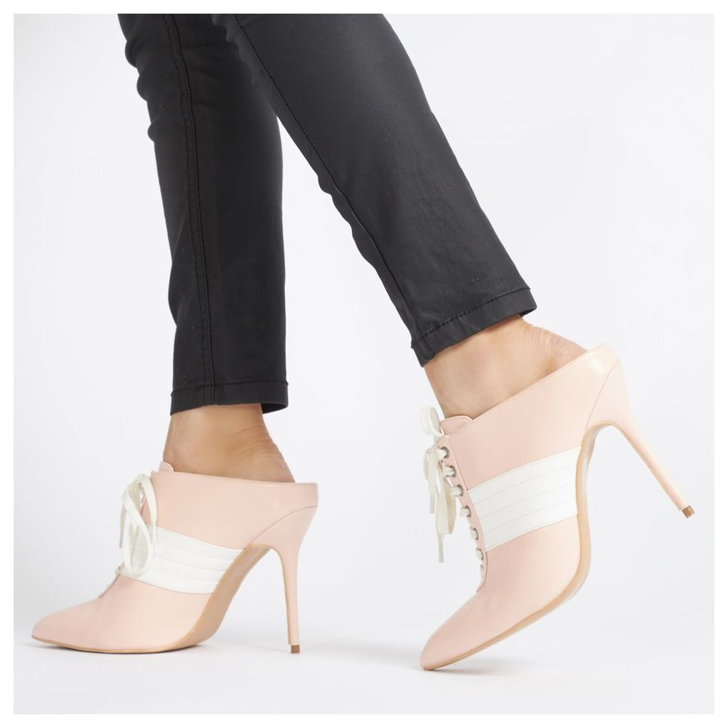 Farah Sport Striped Heeled Mules in Baby Pink