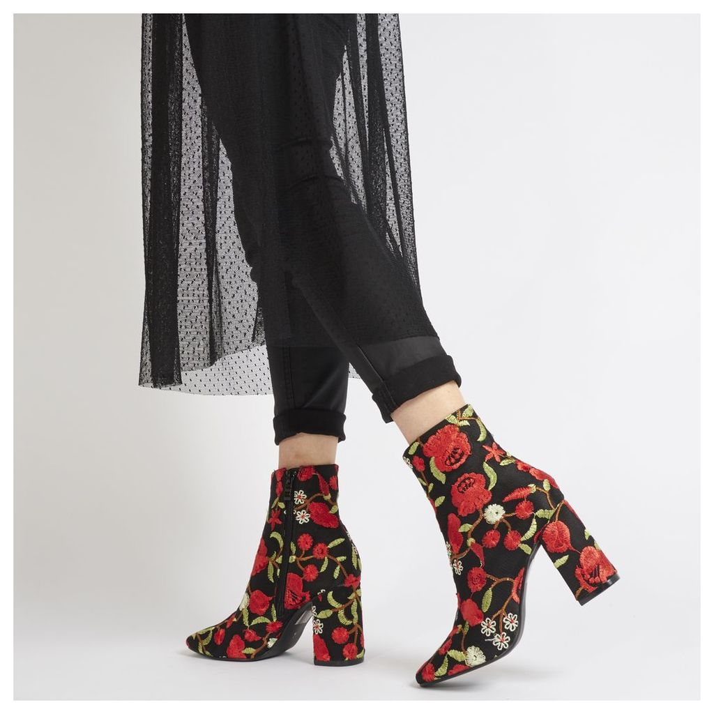 Cleo Red Embroidered Floral Ankle Boots in Black Faux Suede
