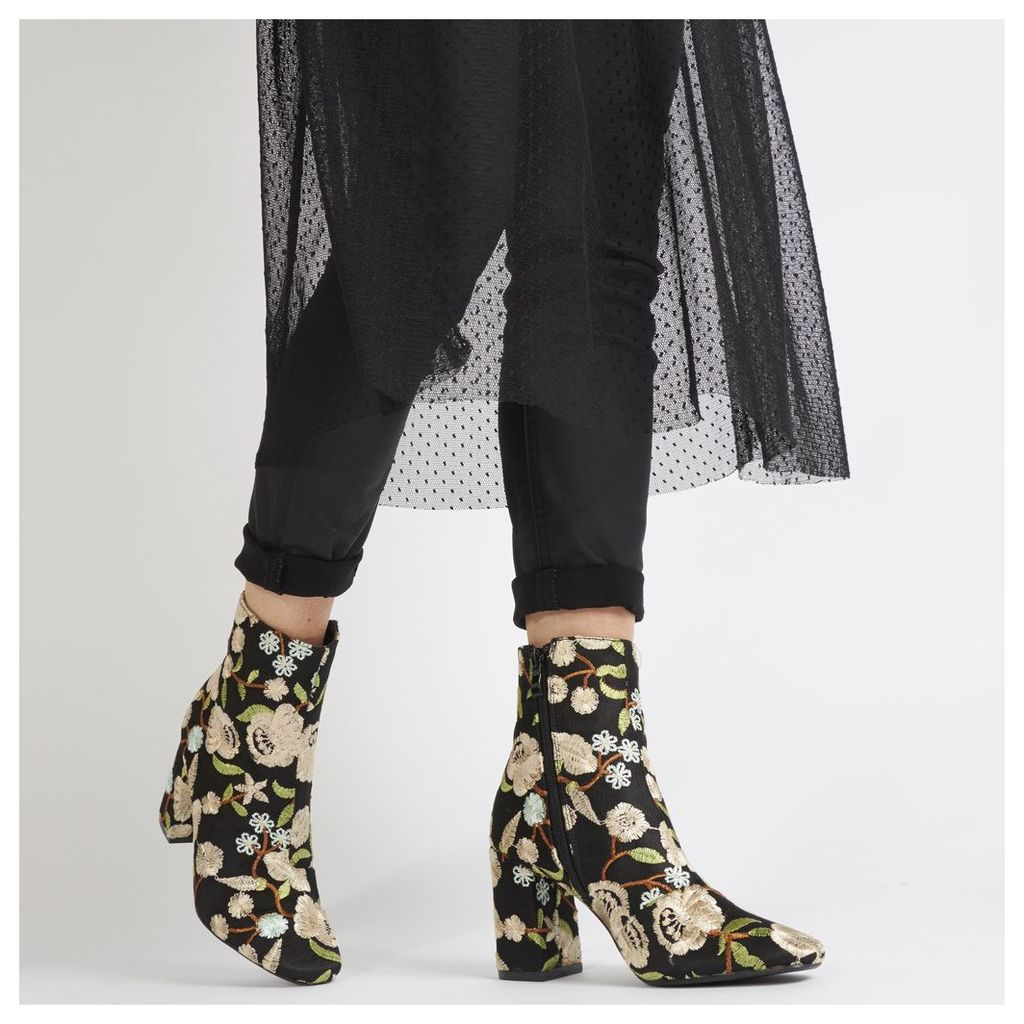 Cleo Nude Embroidered Floral Ankle Boots in Black Faux Suede