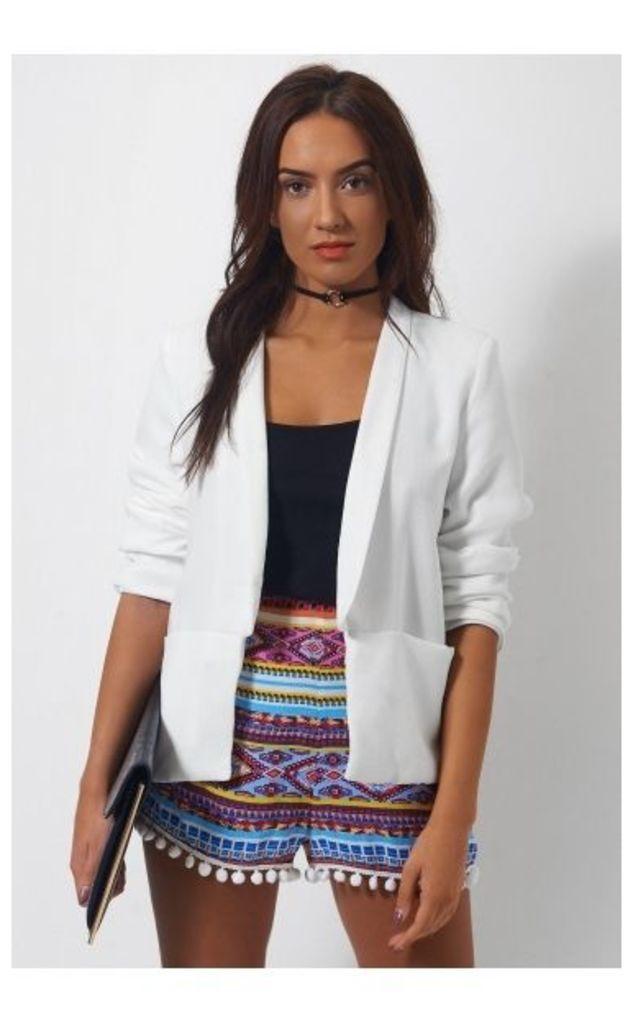 Nila White Boxy Boyfriend Jacket