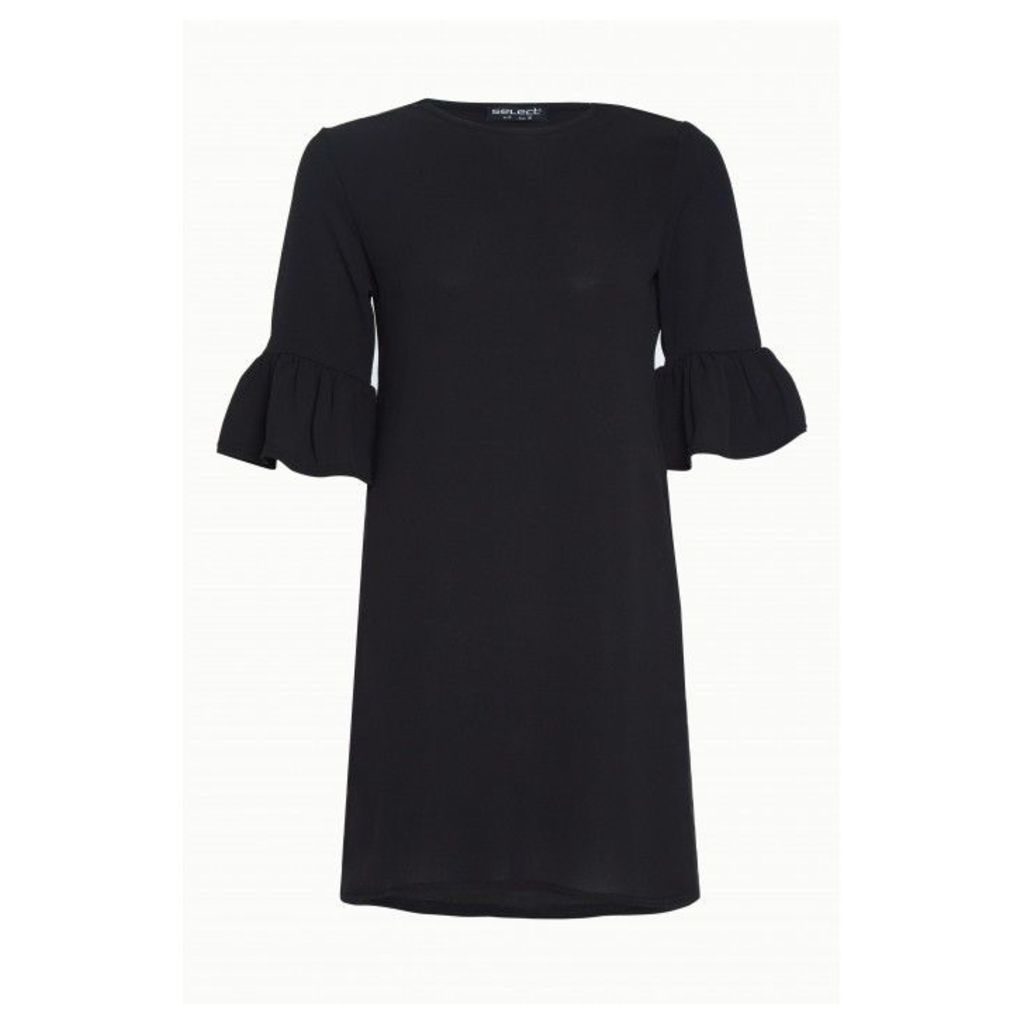 NEW CREPE FLUTED SLEEVE SHIFT DRESS