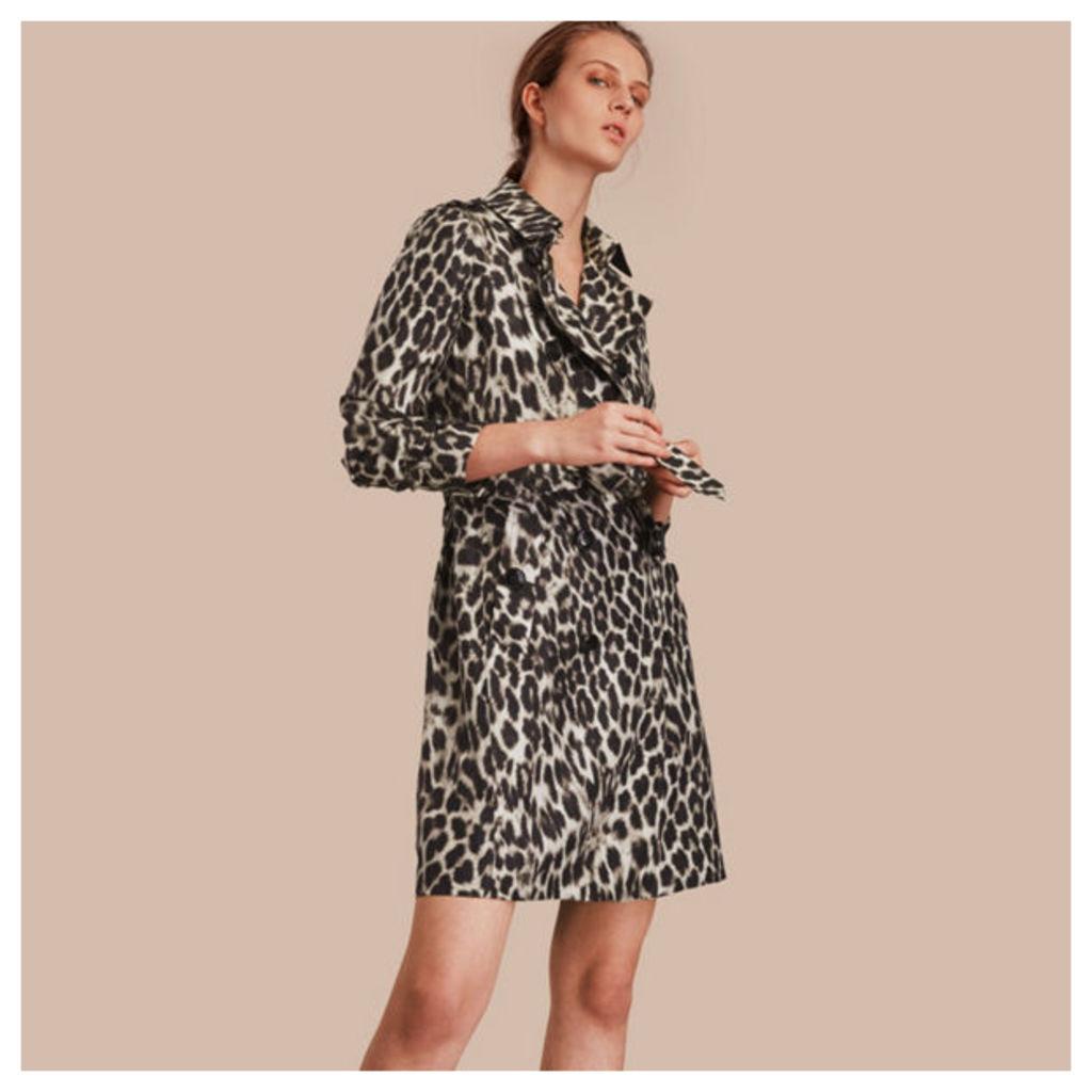 Animal Print Silk Trench Coat