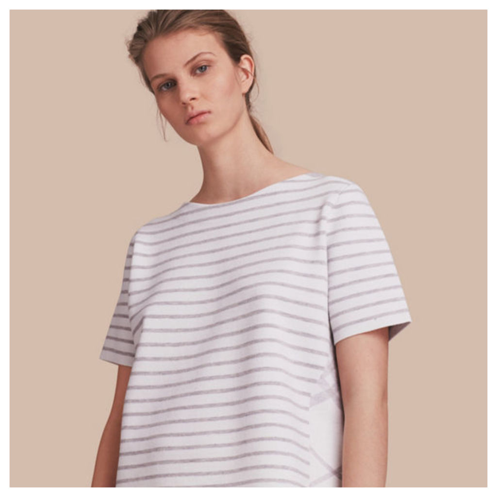 Check and Stripe Wool Blend T-shirt
