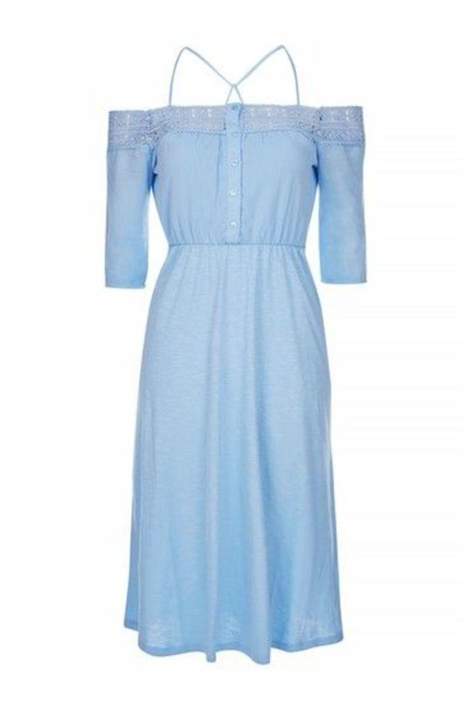 Womens Crochet Cold Shoulder Dress - Blue, Blue