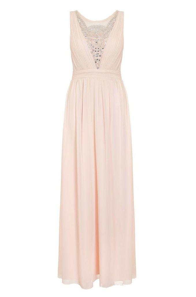 Quiz Nude Chiffon Embellished Maxi Dress, Nude