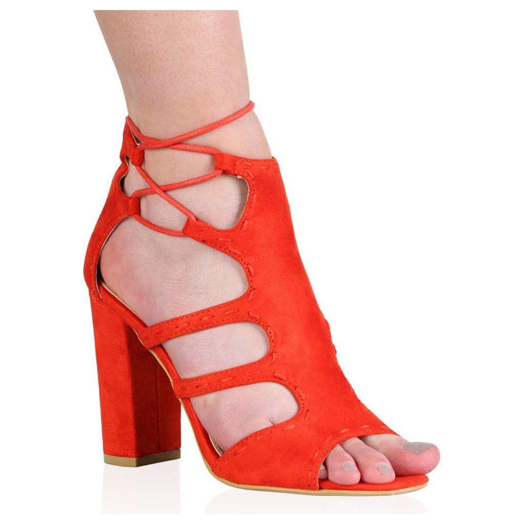 Paulette High Heels in Orange Faux Suede, Orange