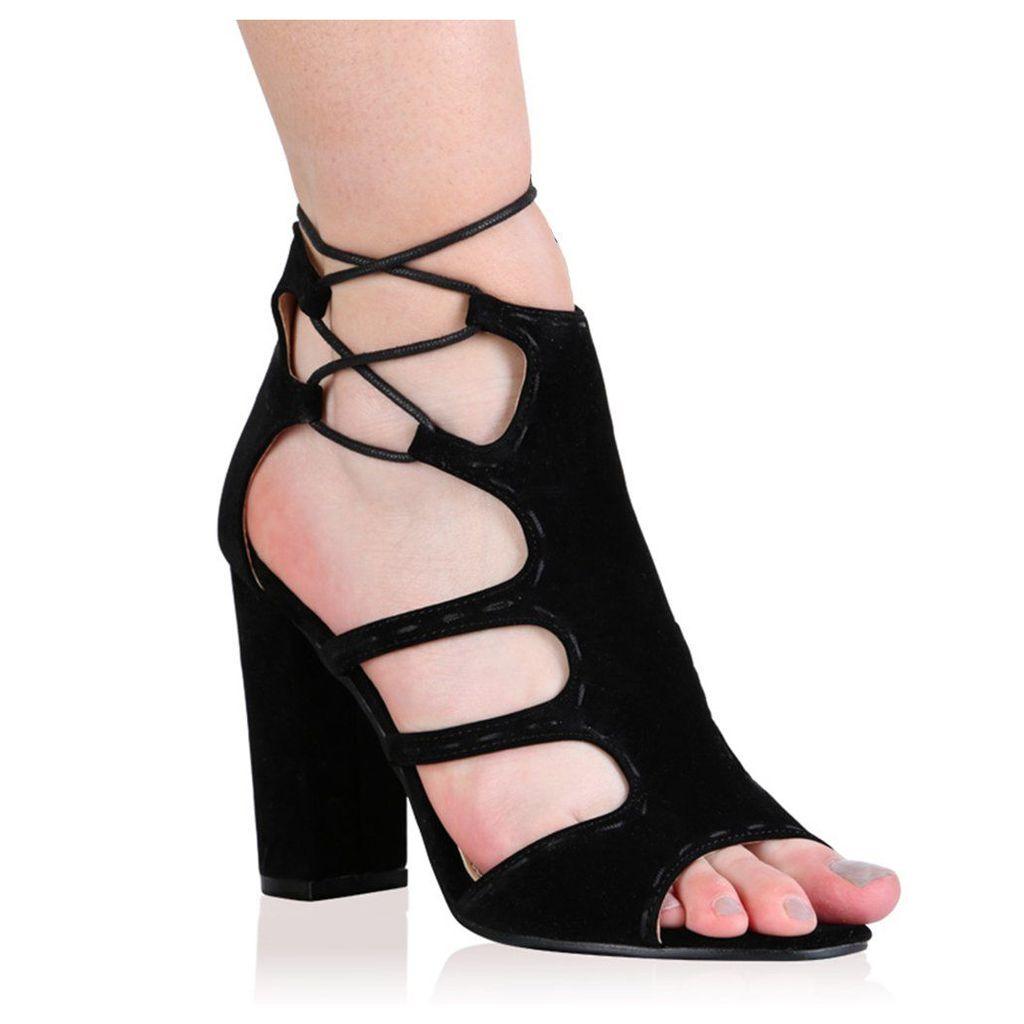 Paulette High Heels in Black Faux Suede, Black