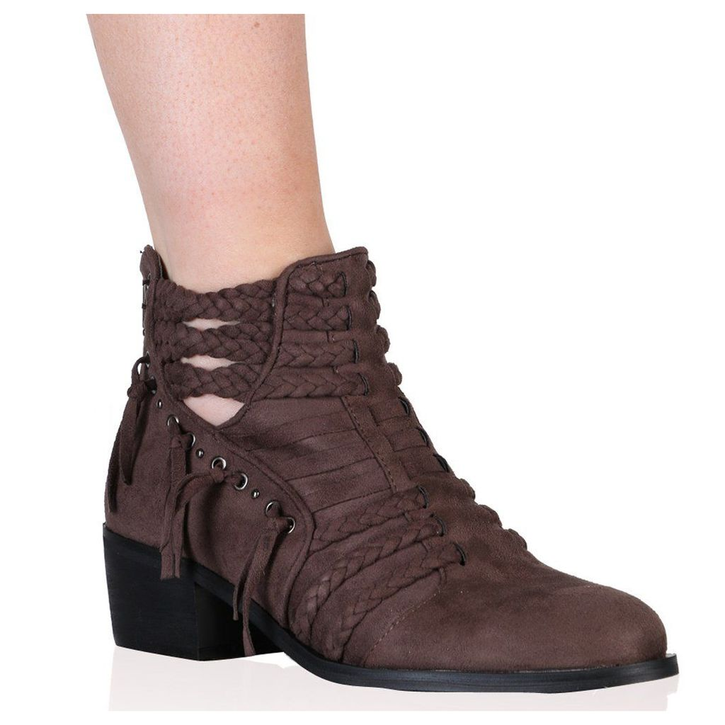 Luciana Ankle Boots in Taupe Faux Suede, Brown