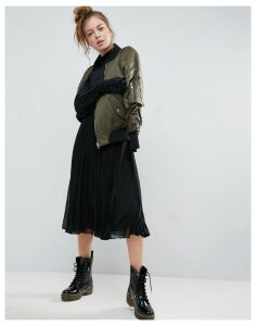 ASOS Pleated Midi Skirt with Exposed Elastic Waistband - Black