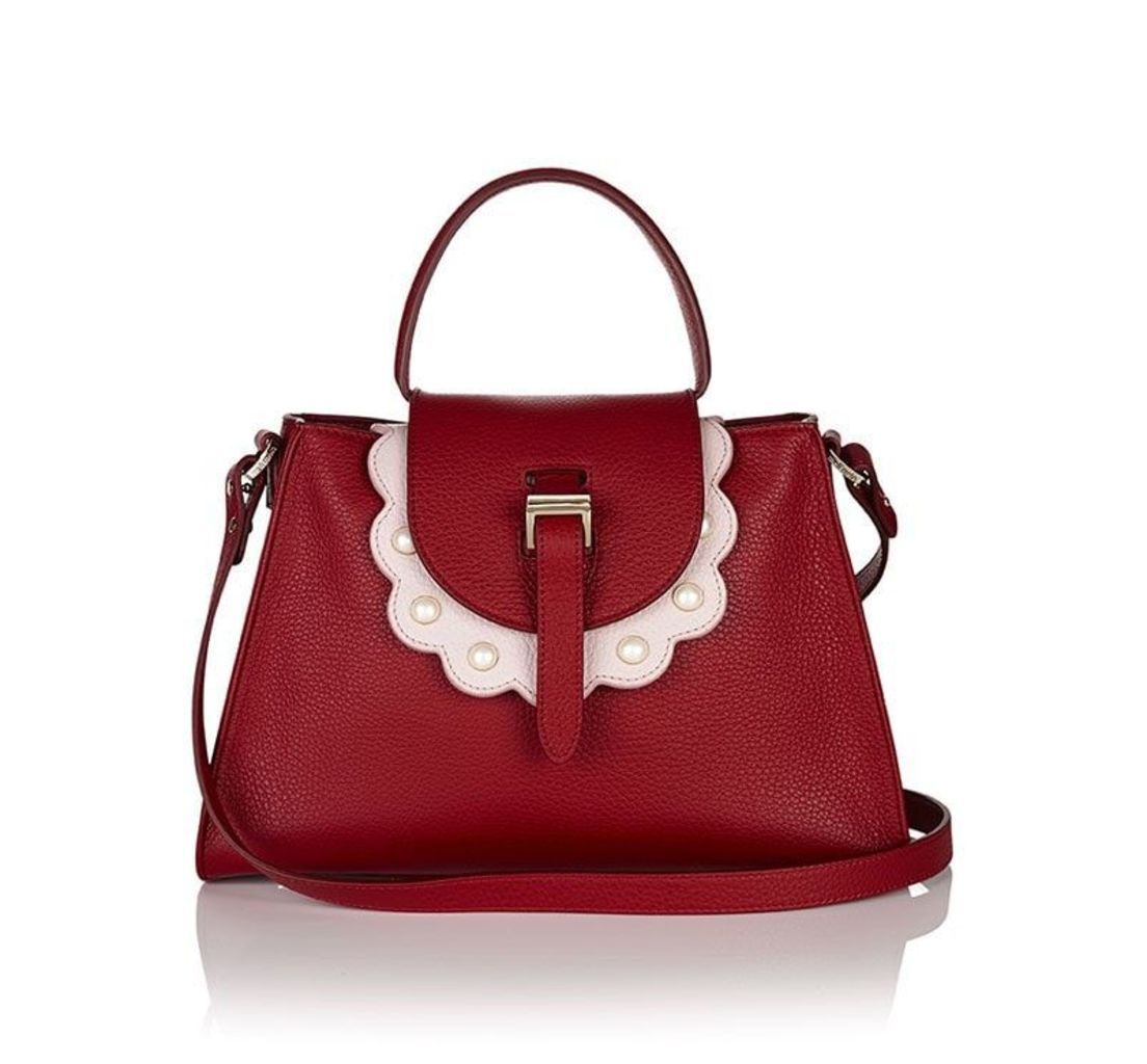 Flavia Tote Bag Red with Pearls