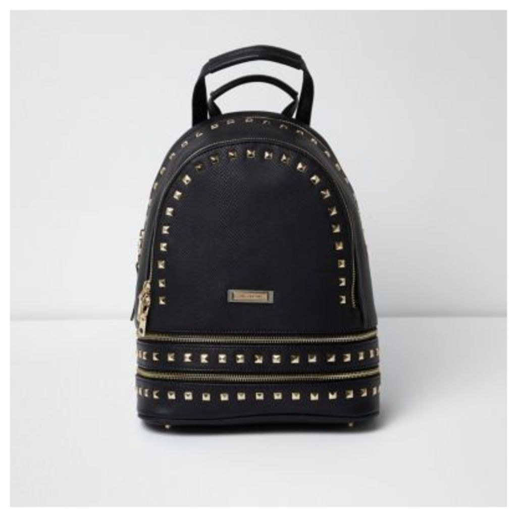 River Island Womens Black stud zip pocket backpack
