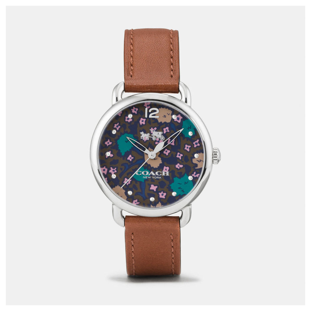 Coach Delancey Stainless Steel Floral Dial Leather Strap Watch