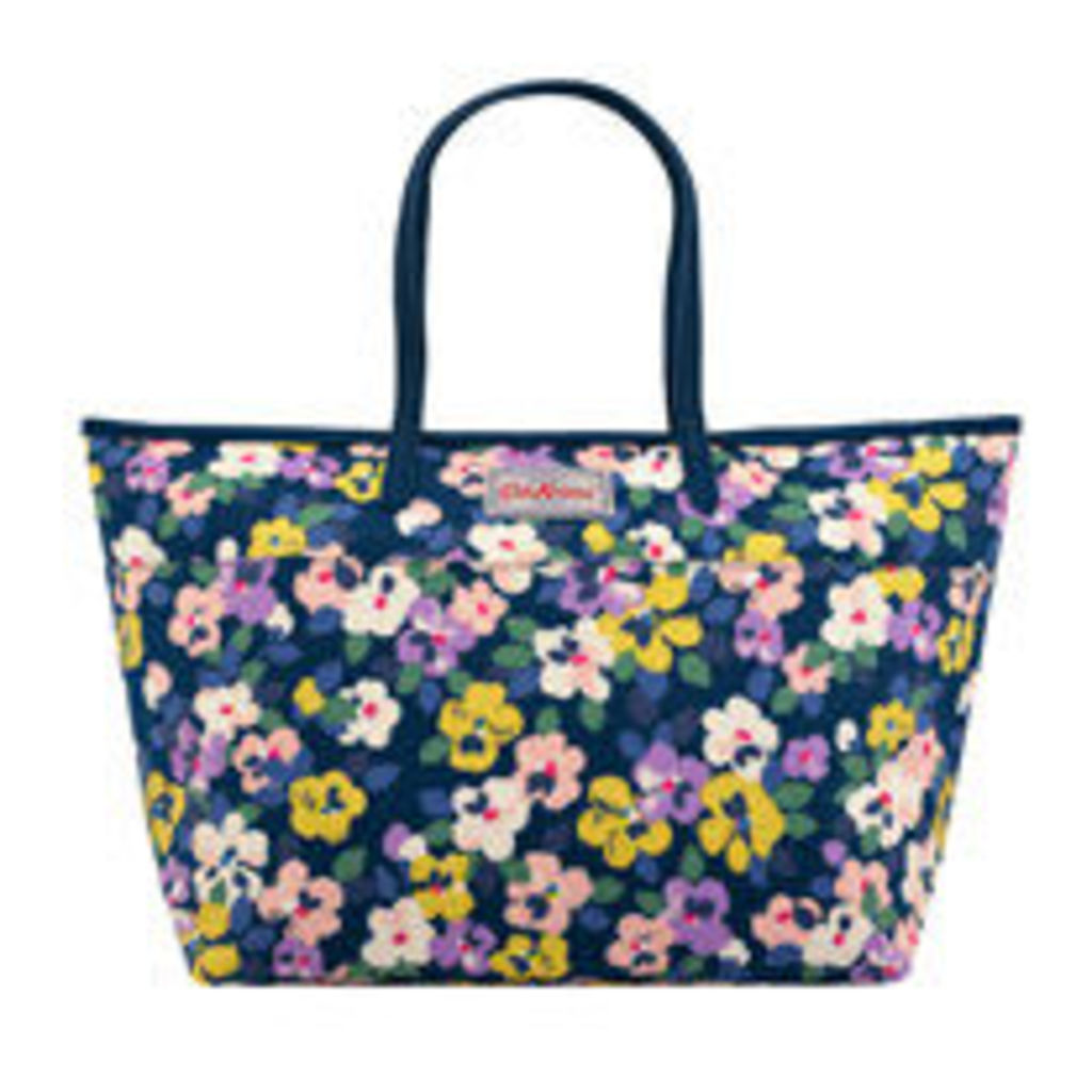 Large Painted Pansies Large Trimmed Tote