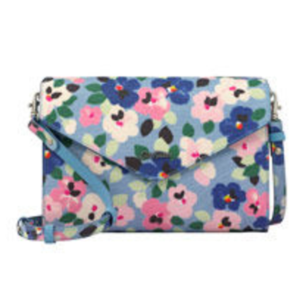 Large Painted Pansies Embossed Occasion Clutch
