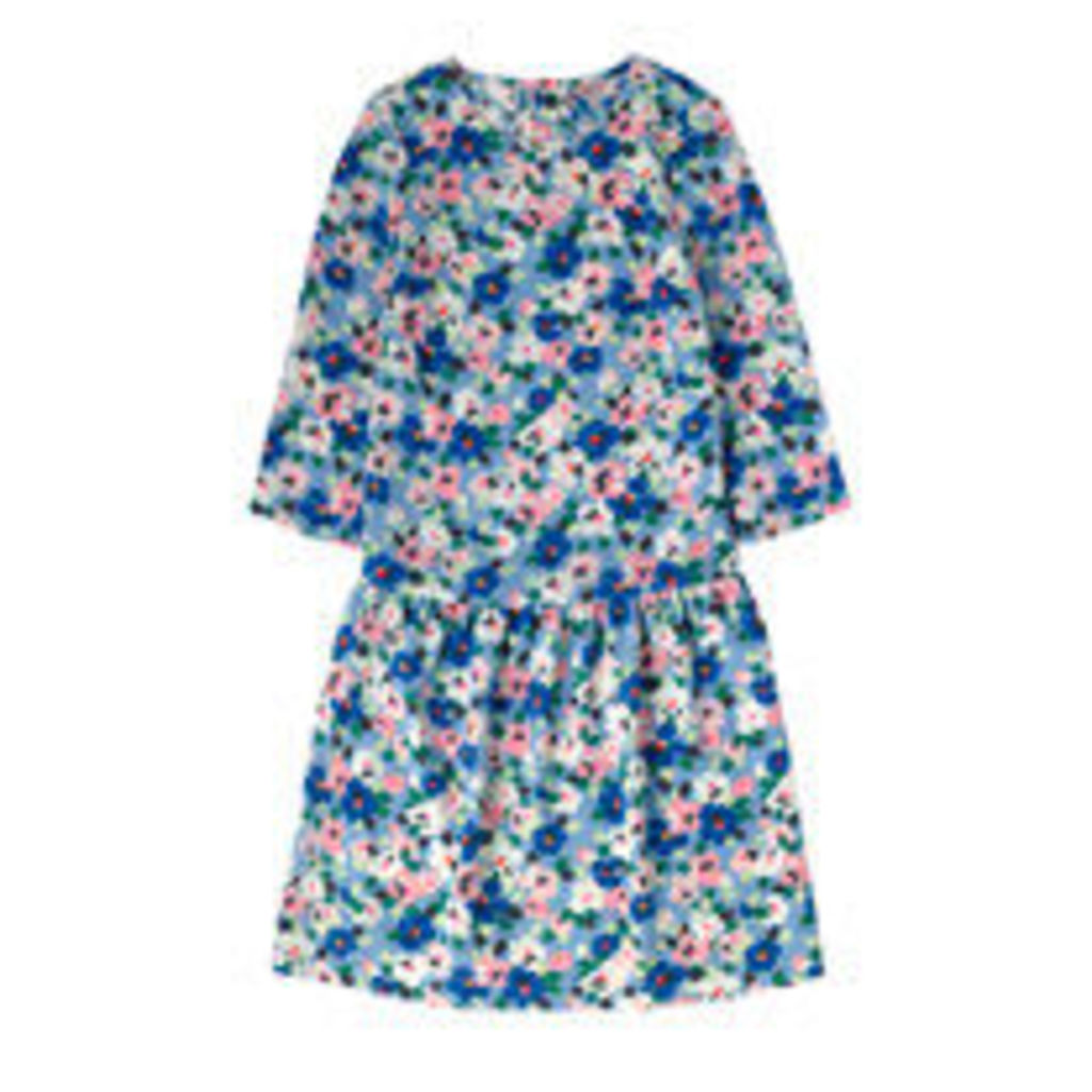 Large Painted Pansies Dropped Waist Dress