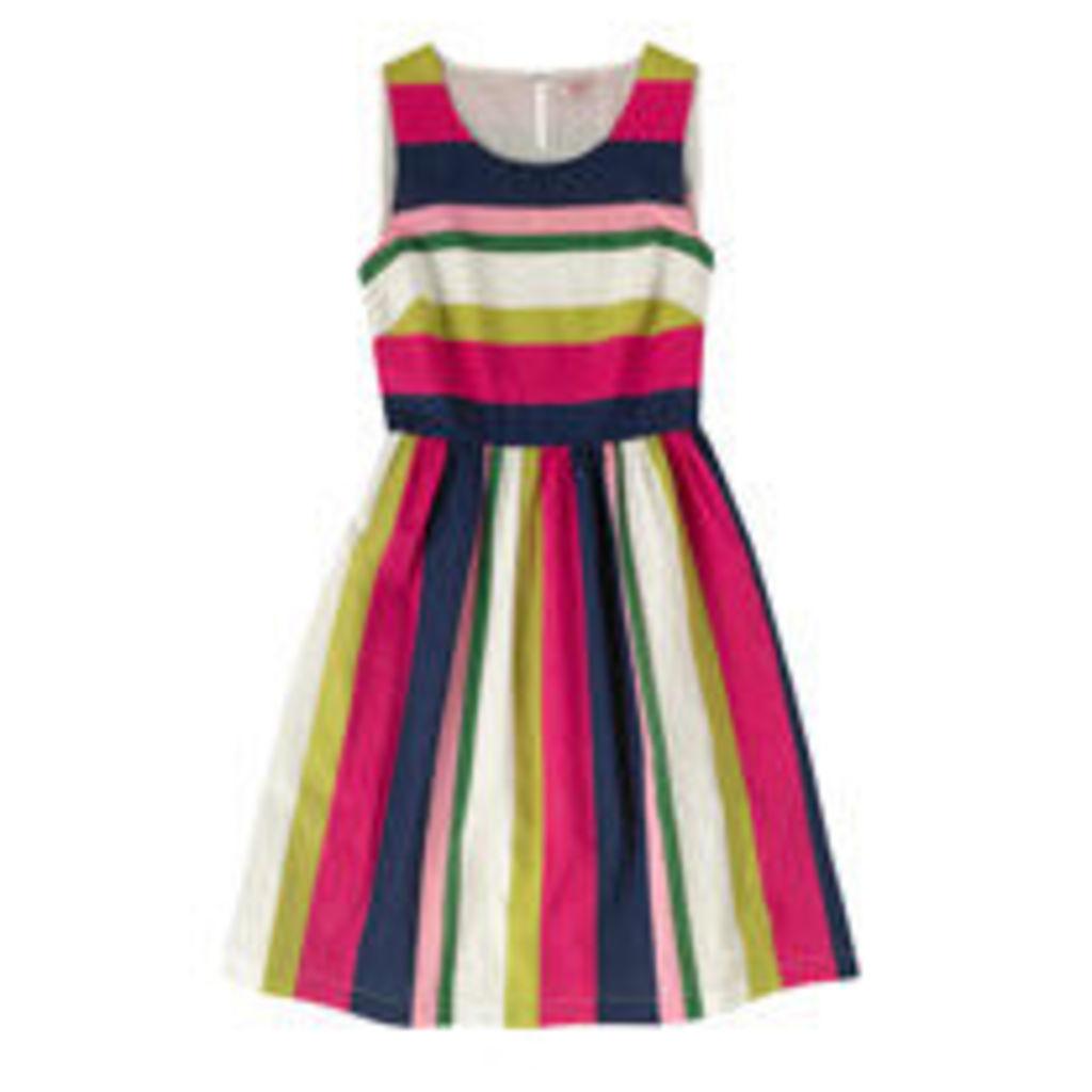 Block Stripe Cotton Sleeveless Dress